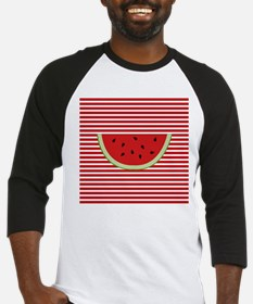 Watermelon Slice on Red and White Baseball Jersey