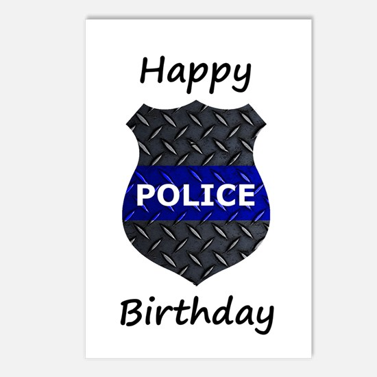 Police Happy Birthday Postcards (package Of 8)