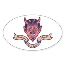 Dashing Devil Oval Decal