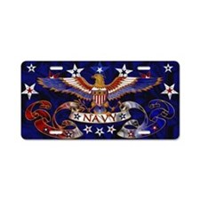 Harvest Moons Navy Eagle Aluminum License Plate