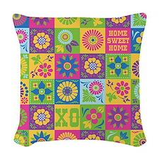 Neo-Folk Art Woven Throw Pillow