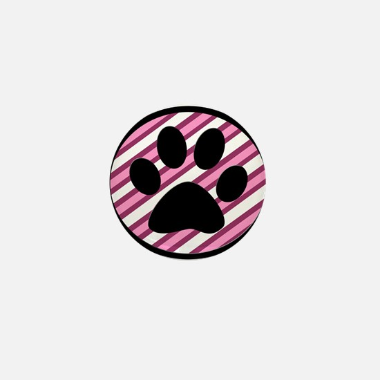Paw Print on Pink Stripes Mini Button