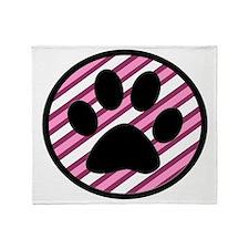 Paw Print on Pink Stripes Throw Blanket