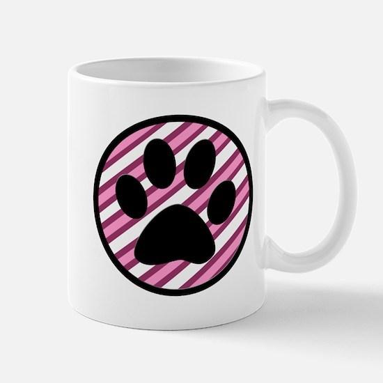Paw Print on Pink Stripes Mugs
