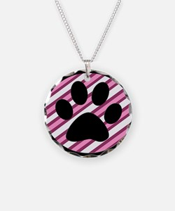 Paw Print on Pink Stripes Necklace