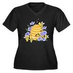 Honey Bee Dance Women's Plus Size V-Neck Dark T-Sh