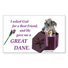 Great Dane (Blue Merle) Rectangle Decal