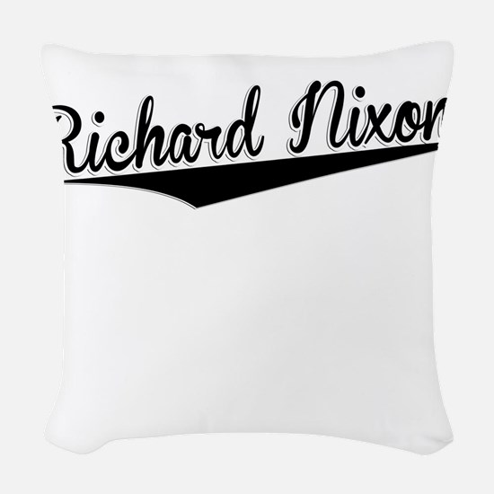 Richard Nixon, Retro, Woven Throw Pillow