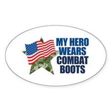 My Hero Wears Combat Boots Sticker (oval)