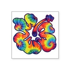 "hibiscus tie dye 1 Square Sticker 3"" x 3"""