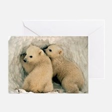 Polar Bear Cubs in the Snow Greeting Card