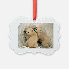 Polar Bear Cubs in the Snow Ornament