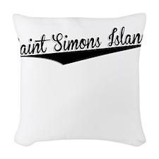 Saint Simons Island, Retro, Woven Throw Pillow