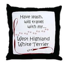 Westie Travel Leash Throw Pillow