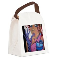 woman eating grapes Canvas Lunch Bag