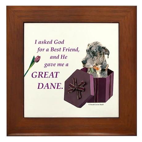 Great Dane (Blue Merle) Framed Tile