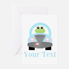 Personalizable Frog Driving Car Greeting Cards