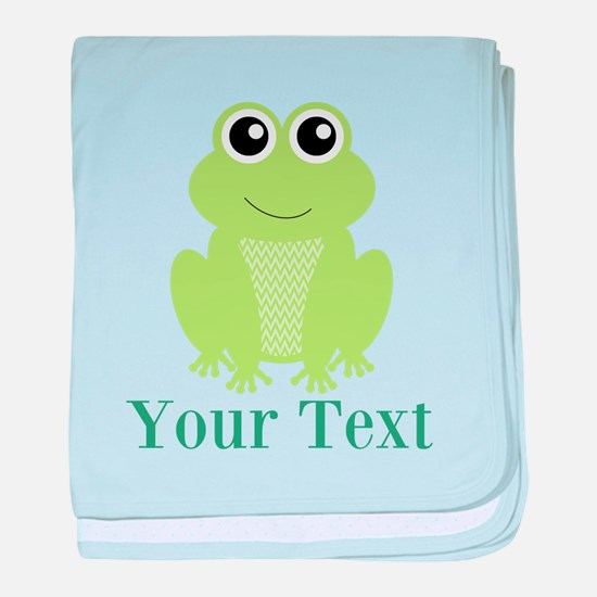 Personalizable Green Frog baby blanket