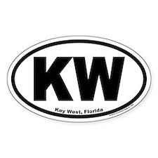 """Key West, Florida Euro Oval """"KW"""" Stickers"""