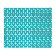 Teal and White Anchors Pattern Throw Blanket