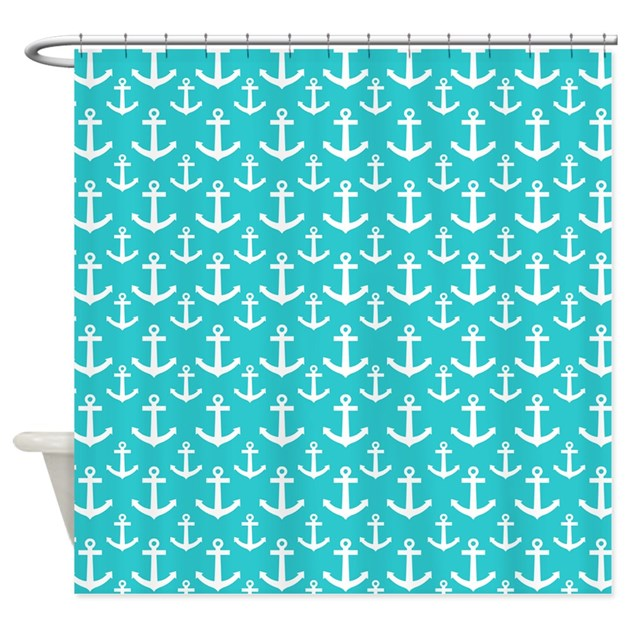 Teal And White Anchors Pattern Shower Curtain By