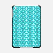 Teal and White Anchors Pattern iPad Mini Case