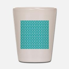 Teal and White Anchors Pattern Shot Glass