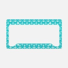 Teal and White Anchors Patter License Plate Holder