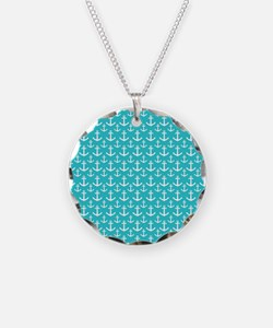 Teal and White Anchors Patte Necklace