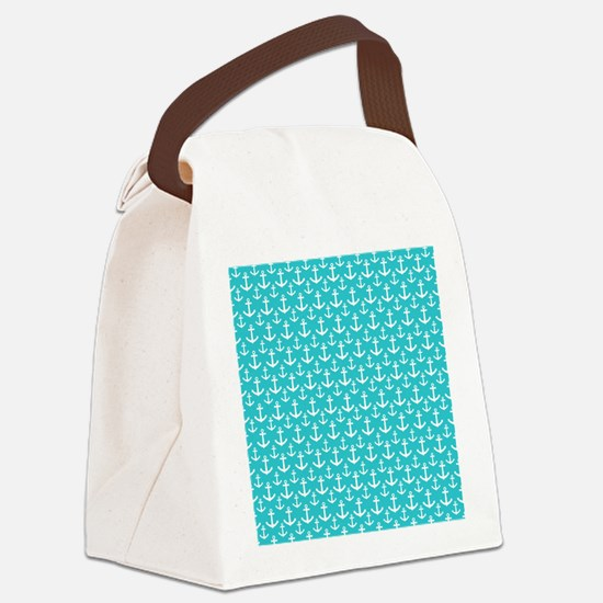 Teal and White Anchors Pattern Canvas Lunch Bag