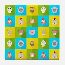 Farm Faces Tile Coaster