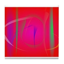 Vivid Red Abstract Bamboo Thicket Tile Coaster