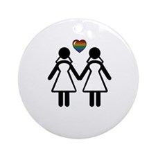 Mrs. Mrs. Lesbian Pride Brides Ornament (Round)