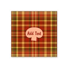 "Pizza Plaid Mushroom Square Sticker 3"" x 3"""
