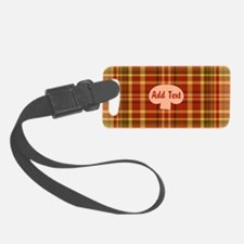 Pizza Plaid Mushroom Luggage Tag