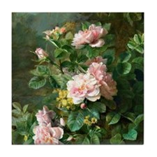 Roses - Painting by Jules Ferdinand M Tile Coaster