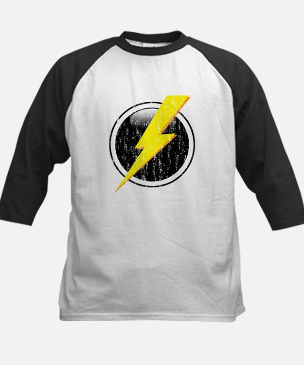 Lightning Bolt Distressed Kids Baseball Jersey