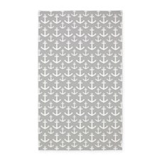 Grey Anchor Pattern 3'x5' Area Rug
