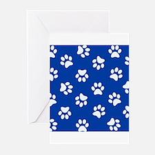 Dark Blue Pawprint pattern Greeting Cards