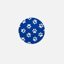 Dark Blue Pawprint pattern Mini Button