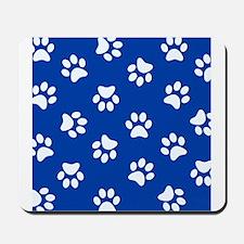 Dark Blue Pawprint pattern Mousepad