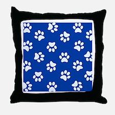 Dark Blue Pawprint pattern Throw Pillow