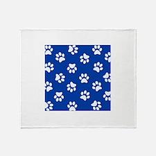 Dark Blue Pawprint pattern Throw Blanket
