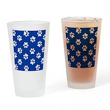 Dark Blue Pawprint pattern Drinking Glass