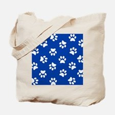 Dark Blue Pawprint pattern Tote Bag