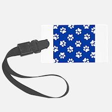 Dark Blue Pawprint pattern Luggage Tag