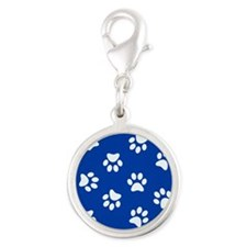 Dark Blue Pawprint pattern Charms