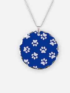 Dark Blue Pawprint pattern Necklace