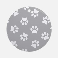 Grey Pawprint pattern Ornament (Round)