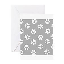 Grey Pawprint pattern Greeting Cards